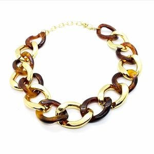Tortoise & Gold Lucite Link Statement Necklace